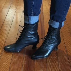 Vintage Black Leather Nine West Victorian Booties